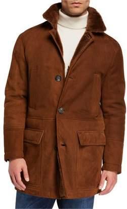 Brunello Cucinelli Men's Fur-Lined Suede Overcoat