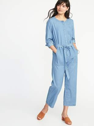Old Navy Chambray Tie-Belt Utility Jumpsuit for Women