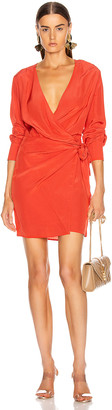 IRO Ophie Dress in Coral Fluorescent | FWRD