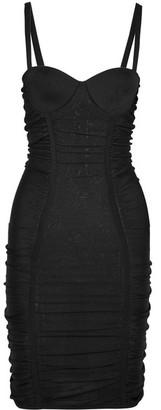 Balmain - Ruched Stretch-knit Mini Dress - Black $2,610 thestylecure.com