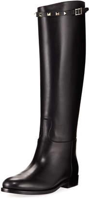 Valentino Rockstud Leather Calf-High Boot, Black