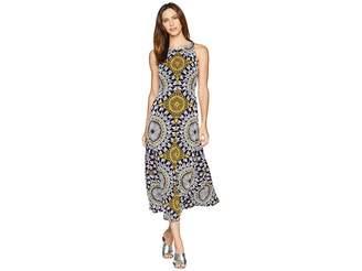 London Times Neck Pleat Matte Jersey Print Maxi Women's Dress
