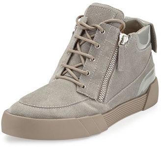 Giuseppe Zanotti Men's Suede Mid-Top Sneaker, Light Gray $695 thestylecure.com
