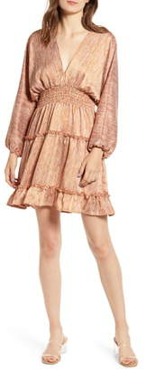 Moon River Smocked Ruffle Trim Minidress