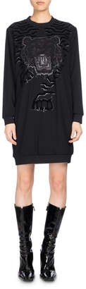 Kenzo Long-Sleeve Graphic Sweaterdress, Black