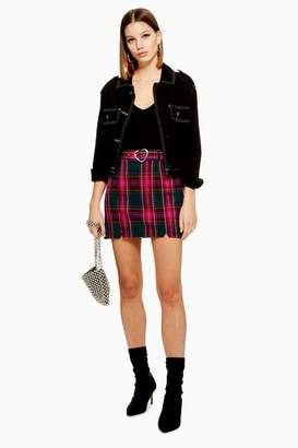 Topshop Heart Buckle Check Mini Skirt