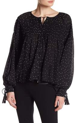 Romeo & Juliet Couture Dot Print Shirred Blouse