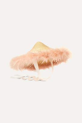 Gigi Burris Millinery Capri Feather-trimmed Straw Sunhat - Beige