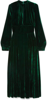 Raquel Diniz - Alma Silk-velvet Midi Dress - Emerald