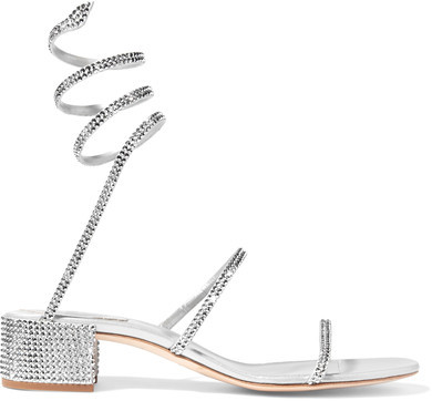 René Caovilla - Crystal-embellished Satin And Leather Sandals - Silver