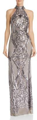Aqua Sequin Scroll Gown - 100% Exclusive