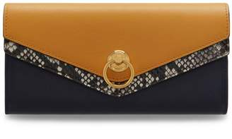 Mulberry Harlow Long Wallet Midnight and Maize Yellow Silky Calf and Ayers e1c13585c9de0
