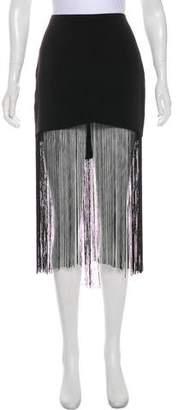 Line & Dot Fringe-Accented Midi Skirt