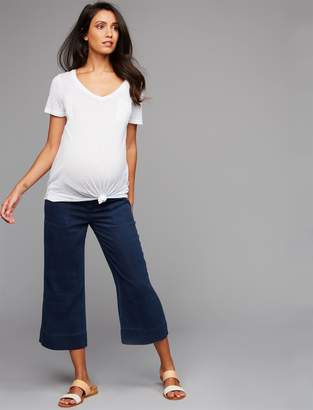 Splendid Pea Collection Fold Over Belly Challis Guacho Maternity Pants