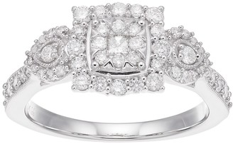 Boston Bay Diamonds 10k White Gold 5/8 Carat T.W. Composite Diamond Cluster Engagement Ring