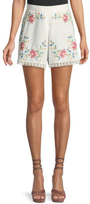 Zimmermann Laelia Cross-Stitch Floral Shorts