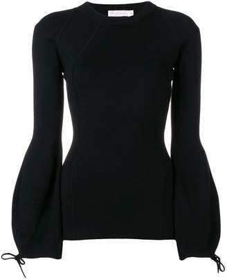 Victoria Beckham drawstring-sleeve fitted sweater