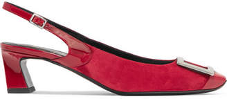 Roger Vivier Trompette Suede And Patent-leather Slingback Pumps