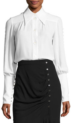 Michael Kors Collection Button-Detail Silk Blouse, White $1,150 thestylecure.com