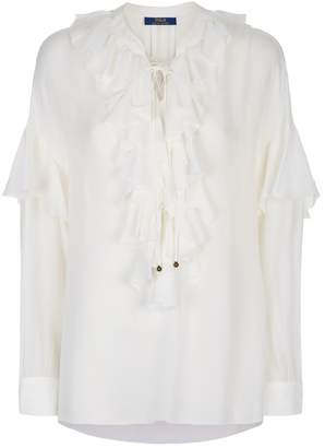 Polo Ralph Lauren Collarless Ruffle Shirt