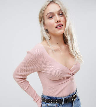Asos DESIGN Petite jumper with knot front in rib