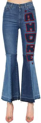 Dolce & Gabbana Flared Amore Cotton Denim Jeans