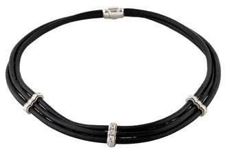 Leslie Greene Diamond & Leather Collar Necklace