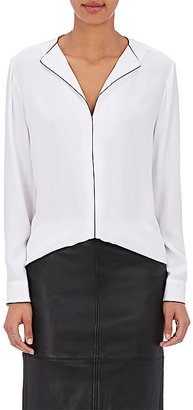 ATM Anthony Thomas Melillo Women's Piped Silk Blouse $350 thestylecure.com