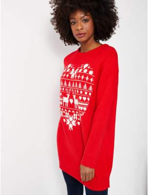 George Red Fairisle Long Sleeve Christmas Tunic Dress