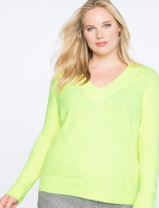 Dramatic Rib V-Neck Sweater