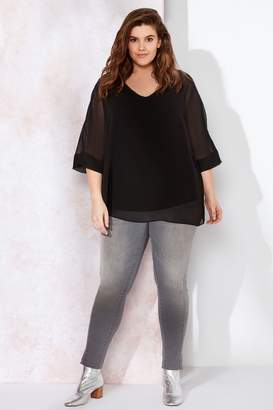 Live Unlimited Womens Black Chiffon Overlay Top - Black