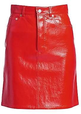 Helmut Lang Women's Patent Leather High-Waist Mini Skirt