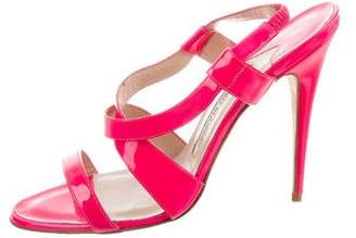 Manolo Blahnik Patent Leather Crossover Strap Sandals