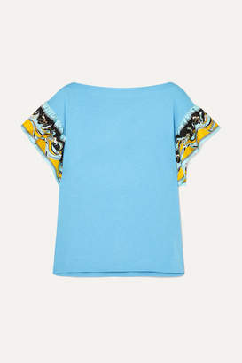 Emilio Pucci Printed Silk-trimmed Cotton-jersey T-shirt - Blue