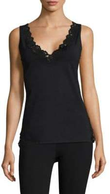 Natori V-Neck Lace Tank Top