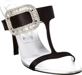 Roger Vivier Buckle Embellished Satin & Leather Mule Sandal