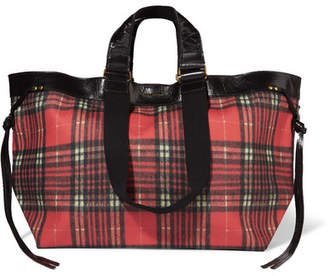 Isabel Marant Wardy Leather-trimmed Tartan Coated-canvas Tote - Red
