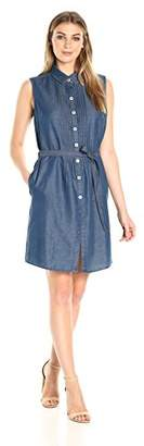 Bandolino Women's Clarice Denim Belted Sleeveless Dress