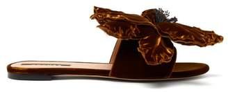 Rochas Floral Applique Velvet Slides - Womens - Dark Orange