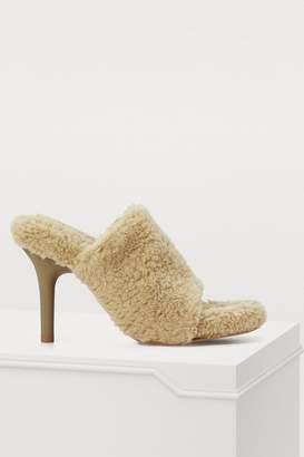 Yeezy Fake shearling high-heeled mules