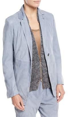Brunello Cucinelli Suede One-Button Blazer Jacket
