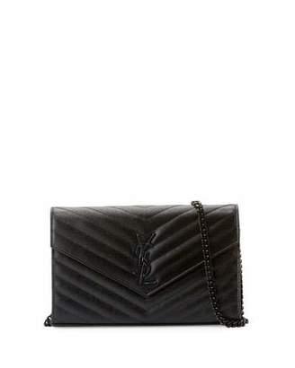 Saint Laurent Monogram Matelassé Leather Wallet on Chain, Black