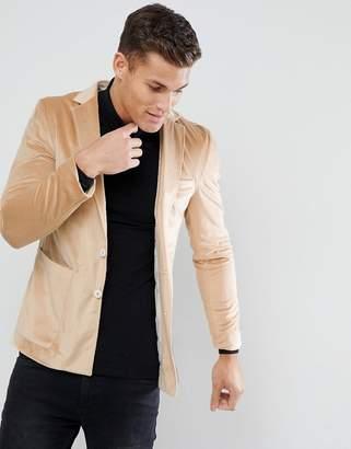Asos DESIGN Slim Blazer in Caramel Velvet