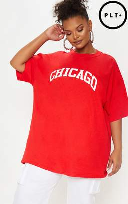 PrettyLittleThing Plus Red Chicago Slogan T Shirt