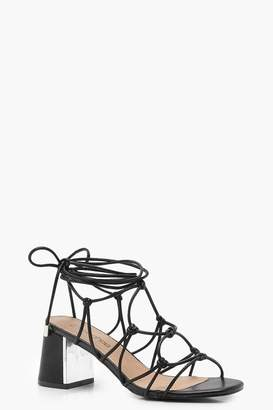 boohoo Wide Fit Cage Tie Up Gladiator Sandals