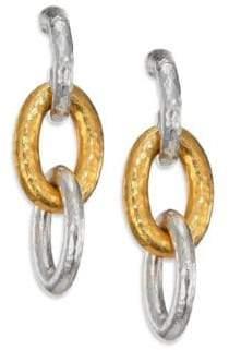 Gurhan Hoopla 24K Yellow Gold& Sterling Silver Galahad Long Drop Hoop Earrings