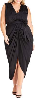 City Chic Drape Front Sheath Dress