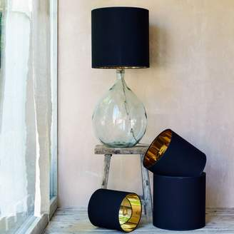 Graham and Green Tall Black And Gold Drum Lamp Shade