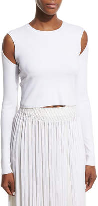 Opening Ceremony Long-Sleeve Jersey Cold-Shoulder Crop Top, White