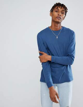 Asos DESIGN relaxed roll long sleeve t-shirt in blue